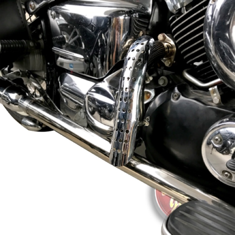 バイク ヒートガード 湾曲 ドットタイプ 黒 シルバー ステンレス製 カラー選択