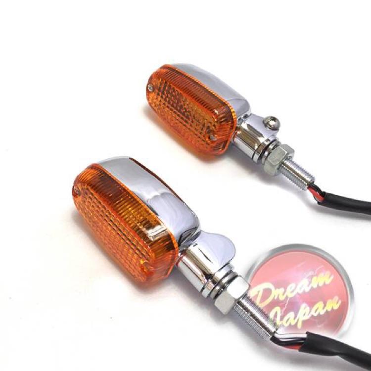 バイク ウインカー カスタムウインカーシルバー/オレンジレンズ 汎用 2個セット