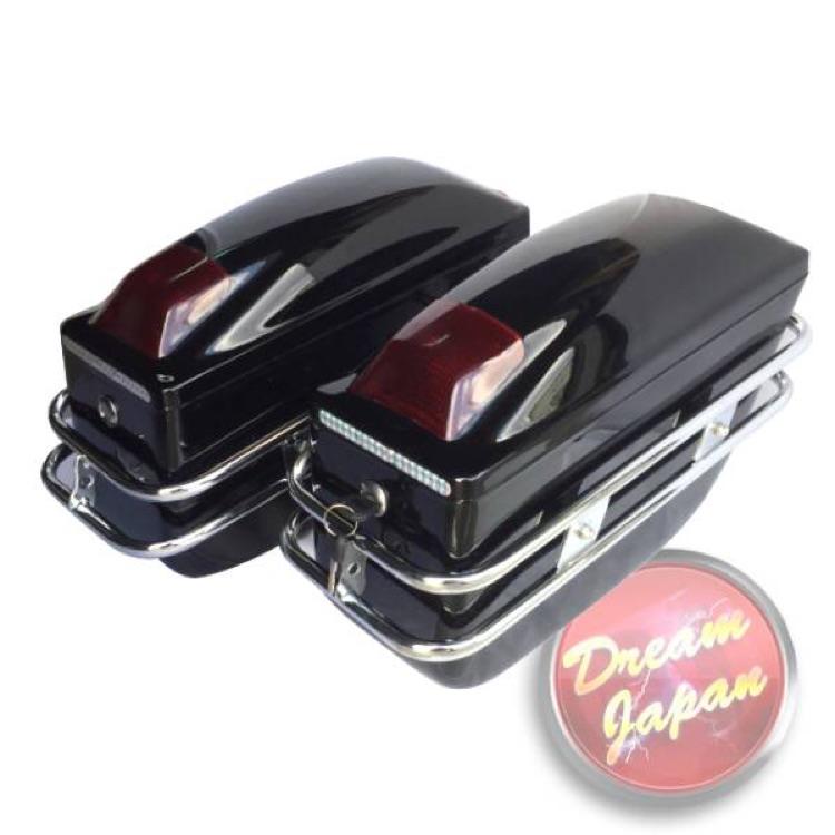 バイク サイドバッグ ハードケースBOX 左右セット ブラック 汎用品