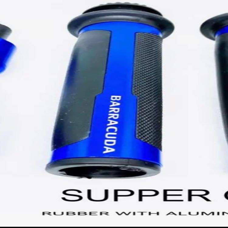 K 高品質 アルミ製 ハンドル スーパーグリップ バーエンド スロットル 青
