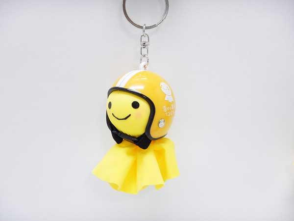 幸せの黄色いてるぼう 交通安全てるメット キーホルダー【オレンジ】