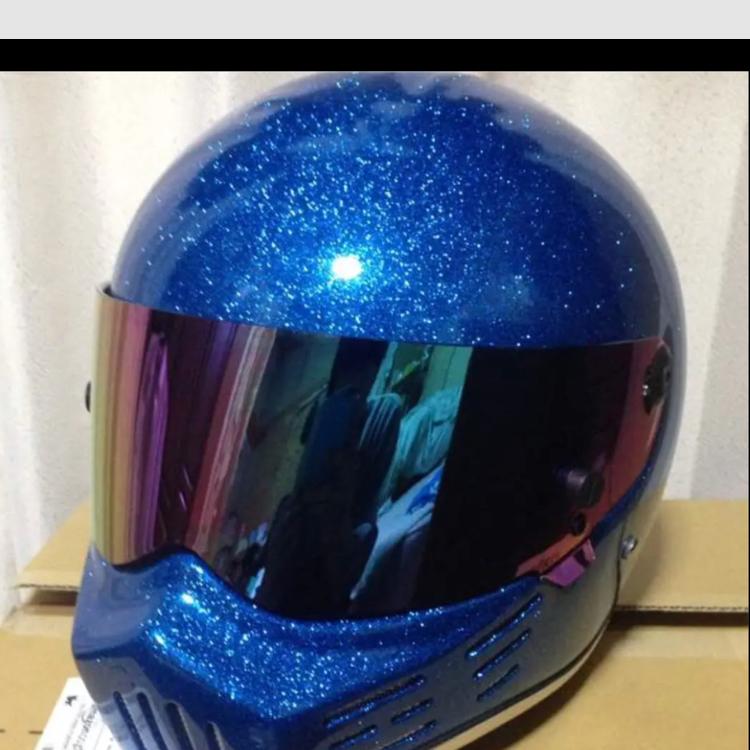 シンプソン風 フルフェイスヘルメット キャンディーブルーカラー サイズ XL