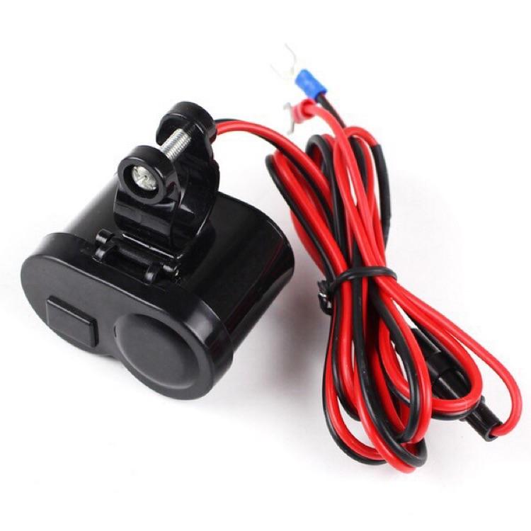 バイク用 USB電源&12Vソケット搭載 スイッチ&防水塵キャップ