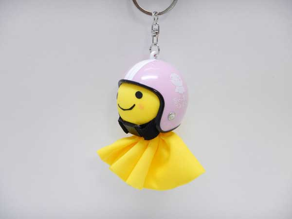幸せの黄色いてるぼう 交通安全てるメット キーホルダー【ピンク】