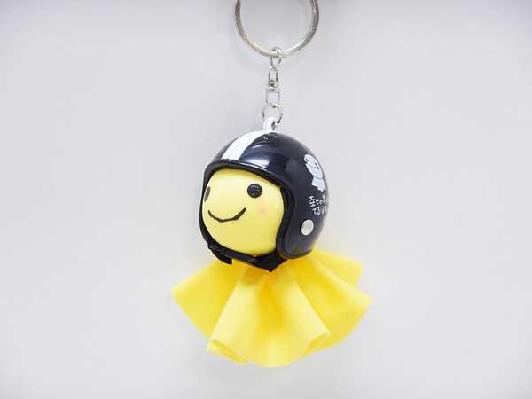 幸せの黄色いてるぼう 交通安全てるメット キーホルダー【ブラック】