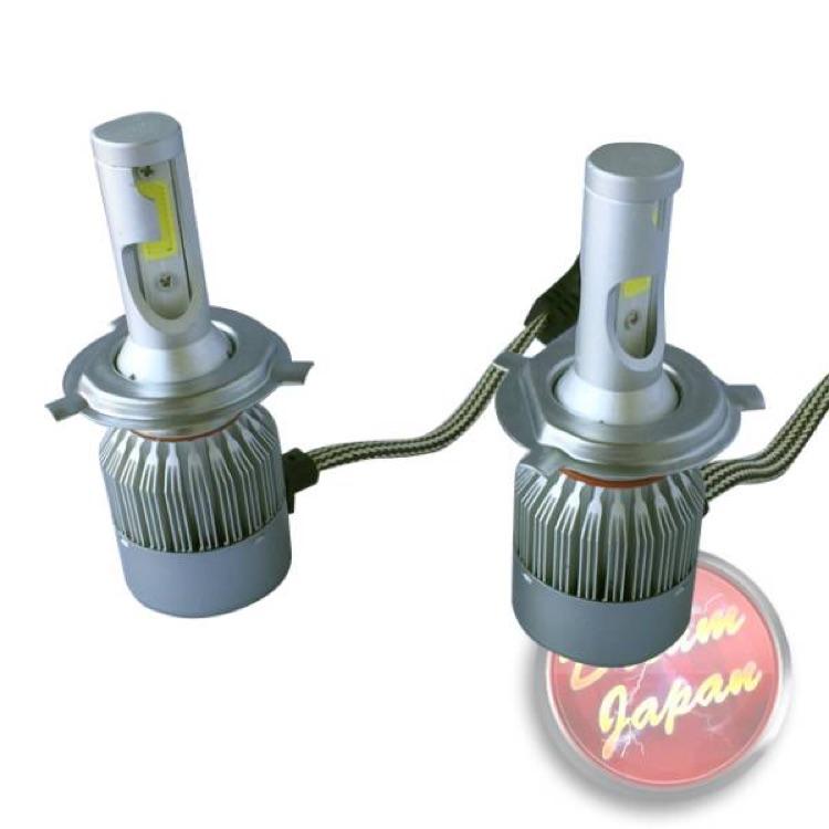 車・バイク LEDヘッドライトバルブ 純白色 H4型 激光6000K 2灯